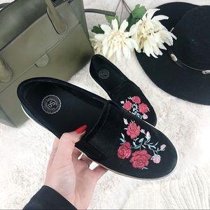 So Black Velvet Embroidered Rose Slip On Flats